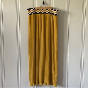 Anthropologie Pleated Mustard Yellow Maxi Skirt XL